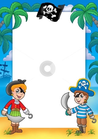 Frame with pirate boy and girl stock photo, Frame with pirate boy and girl - color illustration. by Klara Viskova