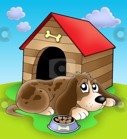 Dog resting in front of kennel stock photo, Dog resting in front of kennel - color illustration. by Klara Viskova
