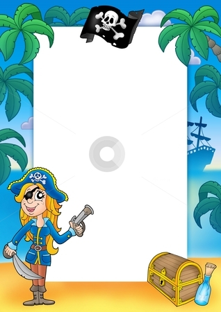 Frame with pirate woman 2 stock photo, Frame with pirate woman 2 - color illustration. by Klara Viskova