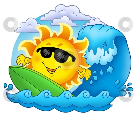 Surfing Sun with clouds stock photo, Surfing Sun with clouds - color illustration. by Klara Viskova