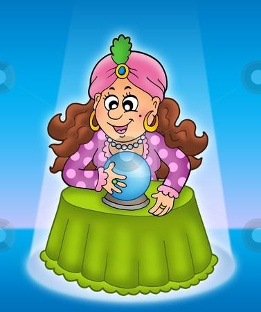 Fortune teller in limelight stock photo, Fortune teller in limelight - color illustration. by Klara Viskova