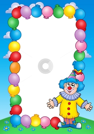 Party invitation frame with clown 2 stock photo, Party invitation frame with clown 2 - color illustration. by Klara Viskova