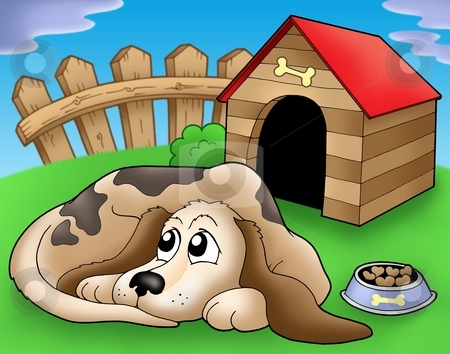 Sad dog in front of kennel 1 stock photo, Sad dog in front of kennel 1 - color illustration. by Klara Viskova