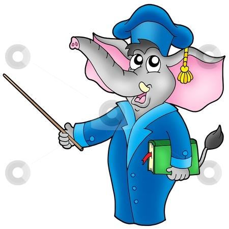 Cartoon elephant teacher stock photo, Cartoon elephant teacher - color illustration. by Klara Viskova