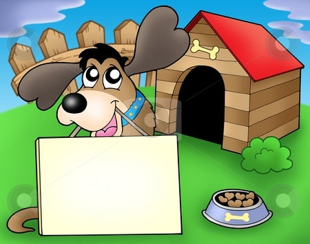 Dog with sign in front of kennel stock photo, Dog with sign in front of kennel - color illustration. by Klara Viskova