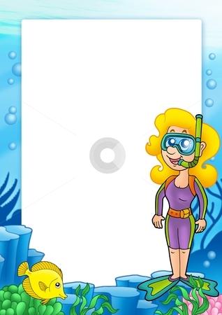Frame with snorkel diver 1 stock photo, Frame with snorkel diver 1 - color illustration. by Klara Viskova