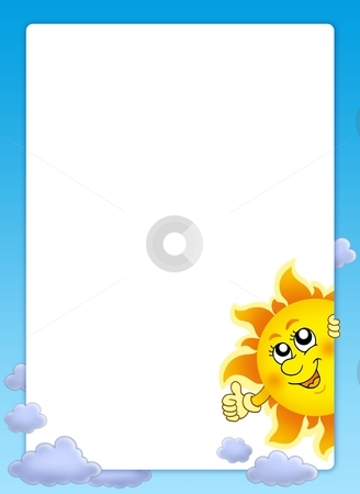 Frame with cartoon lurking Sun stock photo, Frame with cartoon lurking Sun - color illustration. by Klara Viskova