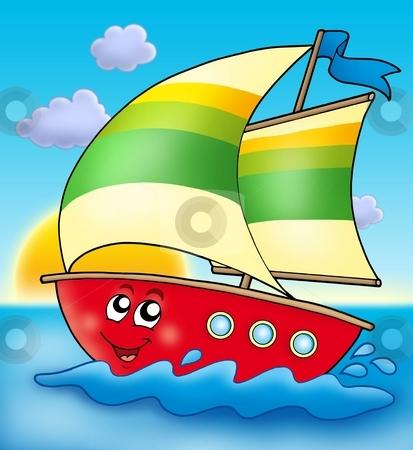 Cartoon sailing boat with sunset stock photo, Cartoon sailing boat with sunset - color illustration. by Klara Viskova