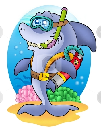 Shark scuba diver on sea bottom stock photo, Shark scuba diver on sea bottom - color illustration. by Klara Viskova