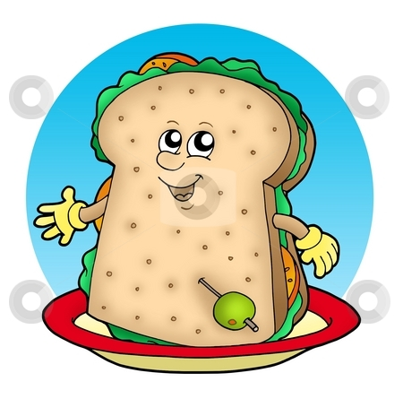 Cartoon sandwich on plate stock photo, Cartoon sandwich on plate - color illustration. by Klara Viskova