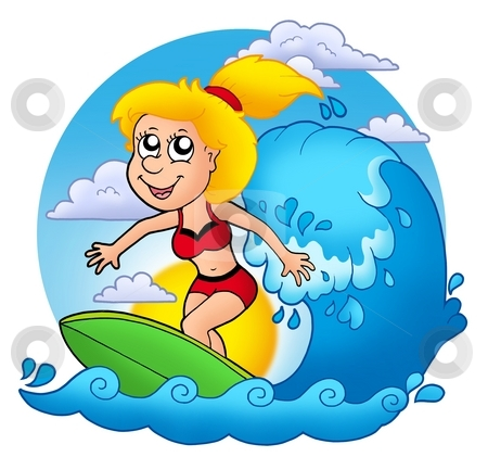 Surfer girl with Sun stock photo, Surfer girl with Sun - color illustration. by Klara Viskova