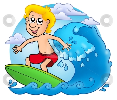 Surfer boy with clouds stock photo, Surfer boy with clouds - color illustration. by Klara Viskova