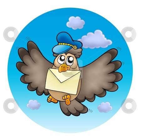 Owl postman on sky stock photo, Owl postman on sky - color illustration. by Klara Viskova