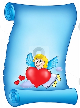 Valentine blue letter with flying cupid stock photo, Valentine blue letter with flying cupid - color illustration. by Klara Viskova