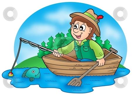 Fisherman in boat with trees stock photo, Fisherman in boat with trees - color illustration. by Klara Viskova