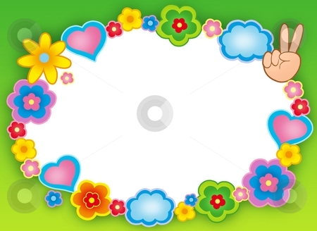 Round hippie frame with flowers stock photo, Round hippie frame with flowers - color illustration. by Klara Viskova