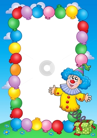 Party invitation frame with clown 3 stock photo, Party invitation frame with clown 3 - color illustration. by Klara Viskova