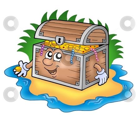 Cartoon treasure chest on island stock photo, Cartoon treasure chest on island - color illustration. by Klara Viskova