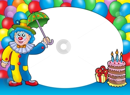 Round frame with clown and balloons stock photo, Round frame with clown and balloons - color illustration. by Klara Viskova