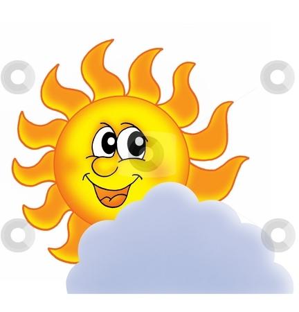 Sun on cloud stock photo, Sun on cloud - color illustration. by Klara Viskova