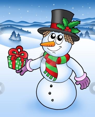 Christmas snowman in snowy landscape stock photo, Christmas snowman in snowy landscape - vector illustration. by Klara Viskova