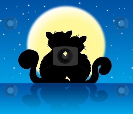Two cats in moonlight stock photo, Two cats in moonlight - color illustration. by Klara Viskova