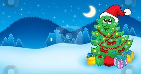 Christmas card with Santa tree and gift stock photo, Christmas card with Santa tree and gift - color illustration. by Klara Viskova
