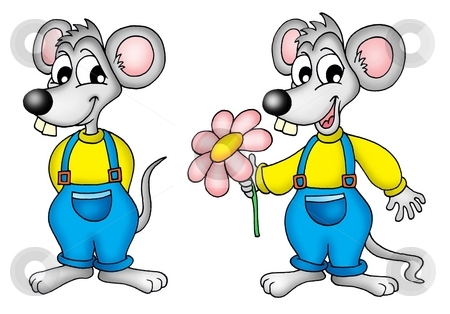 Two mouses with flower stock photo, Two mouses with flower - color illustration. by Klara Viskova