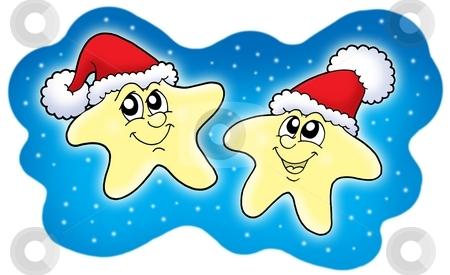 Stars in Christmas caps on blue sky stock photo, Stars in Christmas caps on blue sky - color illustration. by Klara Viskova