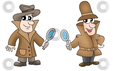 Two detectives stock photo, Two detectives with glasses - color illustration. by Klara Viskova