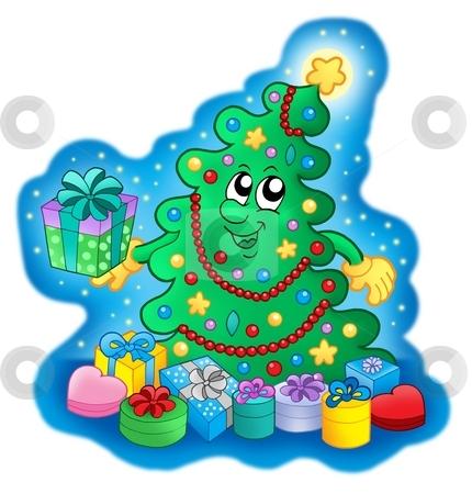 Happy Christmas tree on blue sky stock photo, Happy Christmas tree on blue sky - color illustration. by Klara Viskova
