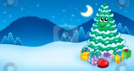 Christmas card with tree and gifts stock photo, Christmas card with tree and gifts - color illustration. by Klara Viskova