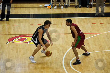 FIBA Trentino Cup: Portugal vs New Zealand stock photo, Game 1 of FIBA Trentino Cup: Portugal vs New Zealand. The tournament was played in Trento (Italy) between the 25th and the 27th of July 2009. One vs one in the Portuguese field. Photo taken on the 25th of July, 2009. by Alessandro Rizzolli
