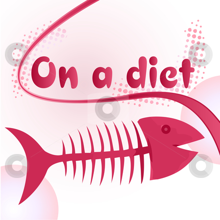 Fish bones diet stock vector clipart, On a diet sign with funny fish bone illustration by gubh83