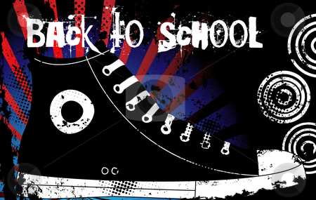 Shoes stock vector clipart, Back to School Sneaker  with United States of America Background by Augusto Cabral Graphiste Rennes