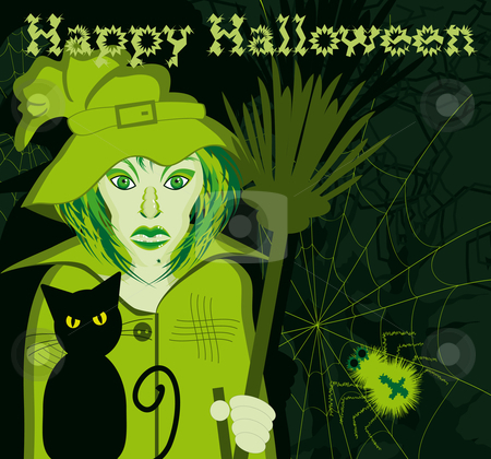 Happy halloween witch stock vector clipart, Happy halloween witch with cat and broom in a dark forest with spider by Karin Claus