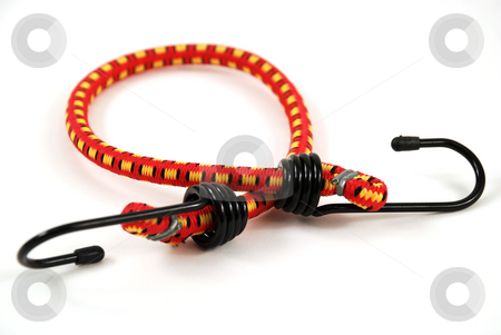 Bungee cords stock photo, Stock pictures of bungee cords with steel hooks of several colors by Albert Lozano