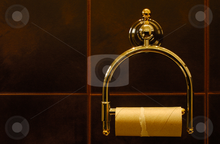 Despair stock photo, Image shows a finished toilet paper roll in a luxurious restroom. by Andreas Karelias