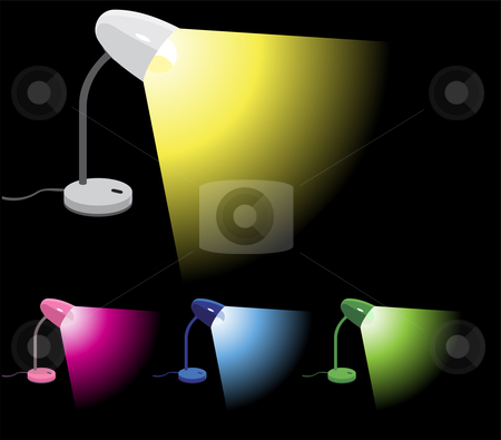 Desk Lamps turned on stock vector clipart, Set of 4 different colors desk lamps illustrations by Augusto Cabral Graphiste Rennes
