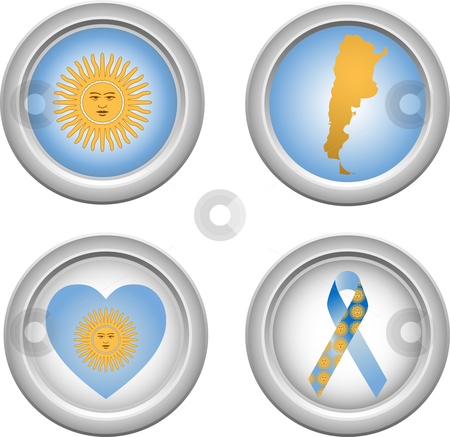 Buttons Argentina stock vector clipart, Argentina Buttons with ribbon, heart, map and flag by Augusto Cabral Graphiste Rennes