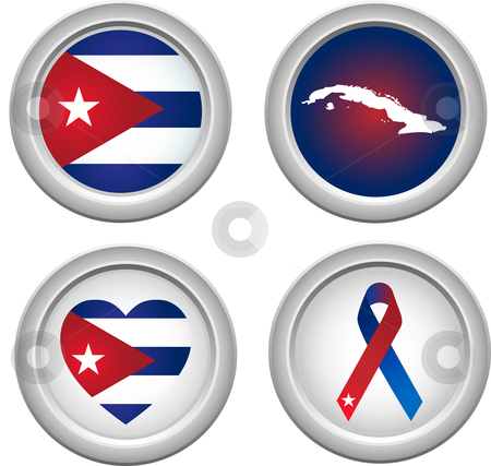 Cuba Buttons stock vector clipart, Cuba Buttons with map, flag, heart and ribbon by Augusto Cabral Graphiste Rennes