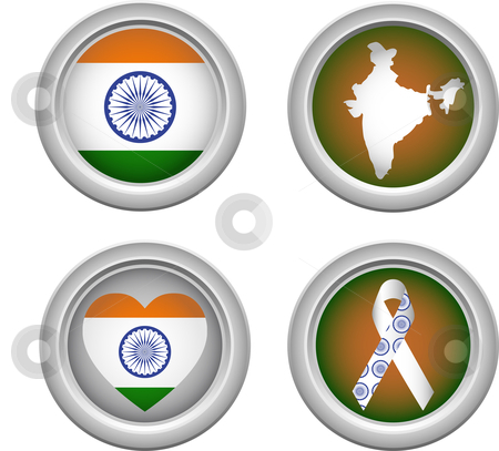 India Buttons stock vector clipart, India Buttons with ribbon, heart, map and flag by Augusto Cabral Graphiste Rennes