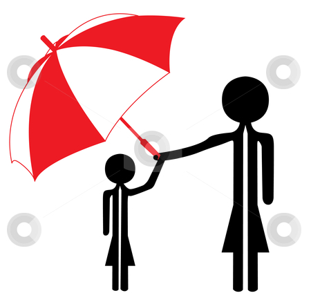 Woman with umbrella stock vector clipart, Woman with umbrella in black and red by Chris Willemsen