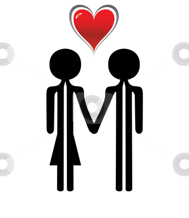 Man and woman in love stock vector clipart, Man and woman in love with a red hart by Chris Willemsen