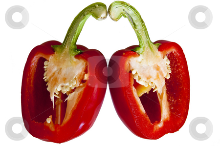 Pepper, red, chooped in half. stock photo, A red bell pepper, chopped in half. by Jeff Carson
