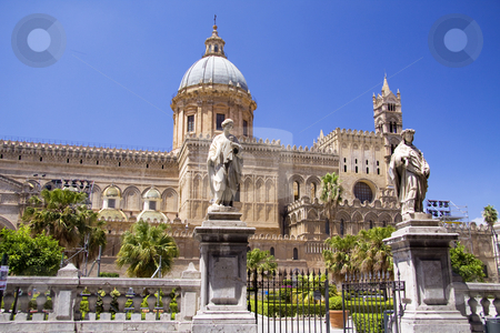 Cathedral of Palermo front stock photo, Cathedral of Palermo in Italy build in various styles from Gothic to barogue by Daniel Kafer