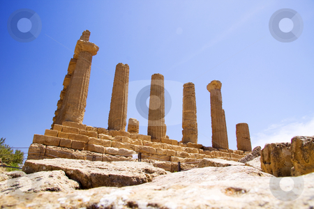 Greek ruins stock photo, Valley of the temples are Greek style ruins at Agrigento in Sicily Italy by Daniel Kafer