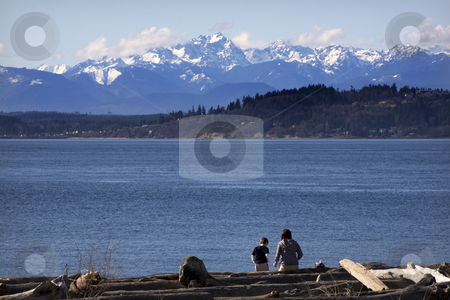 Day at the Beach Mother and Son in Distance Edmonds Washington stock photo, Mother and Son in the distance at the Beach, Edmonds, Snohomish County, Washington with Olympic Mountains in Background by William Perry