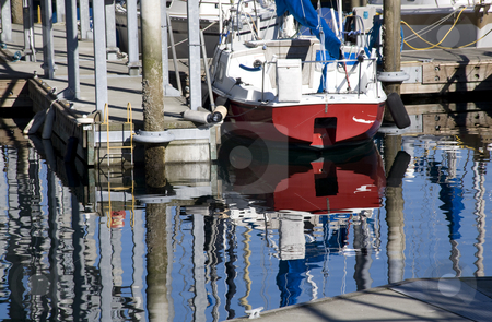 Reflections Water Boats Edmonds Washington stock photo, Reflections of boats, water, pier, dock, Edmond Washington  Trademarks removed. by William Perry
