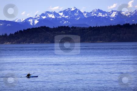 Kayak Puget Sound, Olympic Mountains Edmonds, Washington stock photo, Kayak, Kayaking, on Puget Sound with Snowy Olympic Mountains in background, Edmonds, Snohomish County, Washington by William Perry